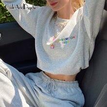 Mektup nakış Joggers kadın tişörtü Casual boy gri kırpılmış gömlek üstleri Streetwear estetik 90s en Cuteandpsycho