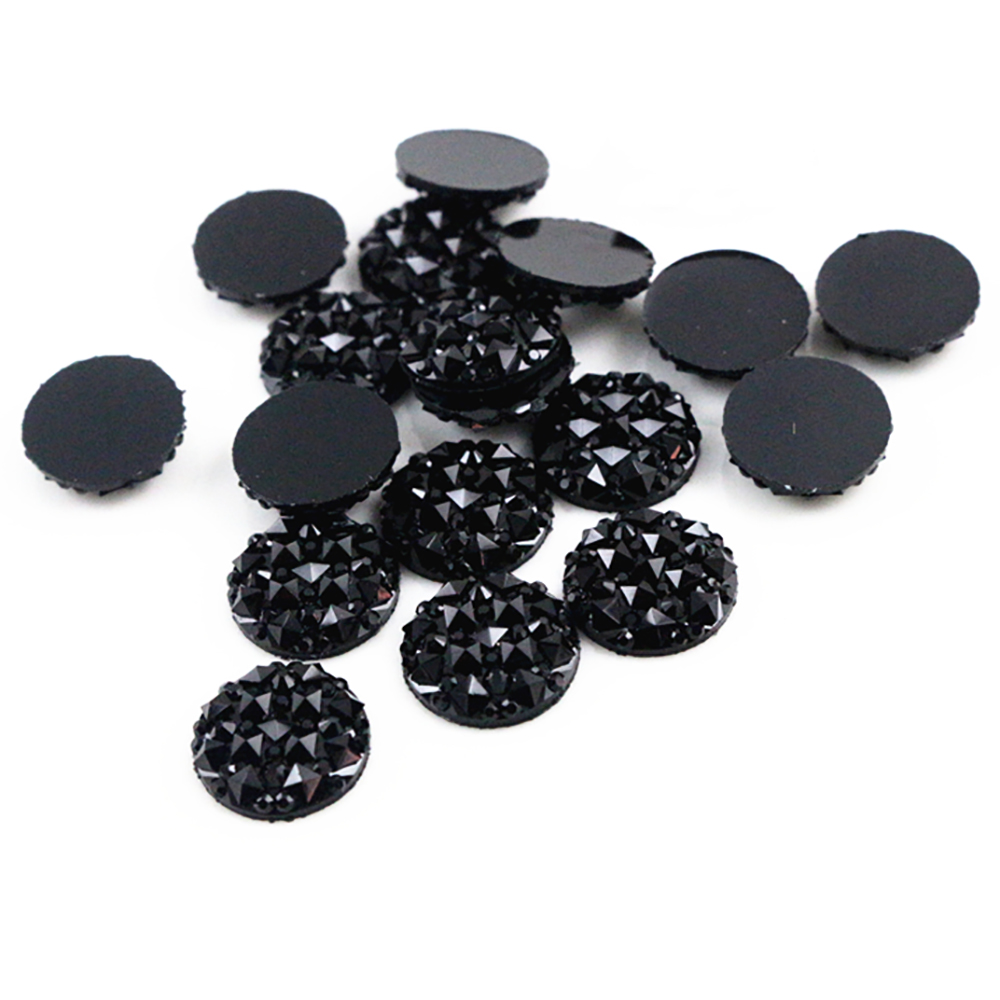 New Fashion 40pcs 12mm Starry Style And Pineapple Surface Style Black Color  Flat Back Resin Flower Cabochons Cameo-G6-26