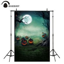 Fondo de calabazas de la luna de Allenjoy Photobooth Foggy Forest Rivers Terror aceite fiesta Banners Halloween evento decoración de la pared fotos(China)