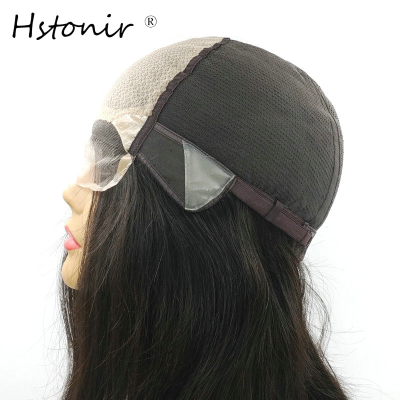 Hstonir Natural Straight European Remy Hair Wig Lace In Front Poly Silk Base Adjustable Hair Wigs For Women G015