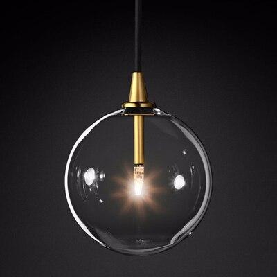 1 En Verre Clair clair globe LED G4 Lustre Luminaires Pendentif Lumières Nordique Simple Or En Métal Suspendus Lampe Salle À Manger Droplight
