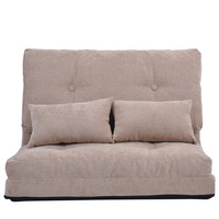 Durable Sofa Bed Furniture Adjustable Folding Futon Sofa Two Seat Video Gaming Lounge Sofa with Two Pillows Living Room Sofas