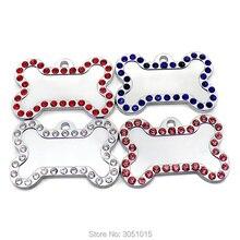 Wholesale 100Pcs bone Rhinestone Cute ID Dog Tag Stainless Steel DIY Dog id Tags Pet Shop Engraved Tags Bling Rhinestone Cat ID