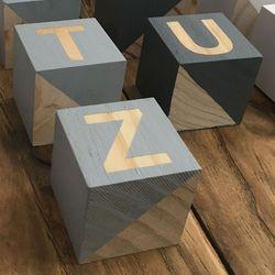 1 Set 26 Engels Alfabet Vierkante Zwart Grijs Cube Block Kids Kinderen Fotografie Props Thuis Bruiloft Decoratie