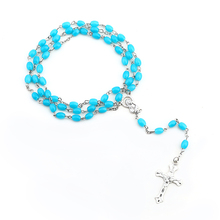 Rosary Necklace Cross-Pendant Glass Jewelry Jesus Crystal-Material Christ Cavintage Tholic