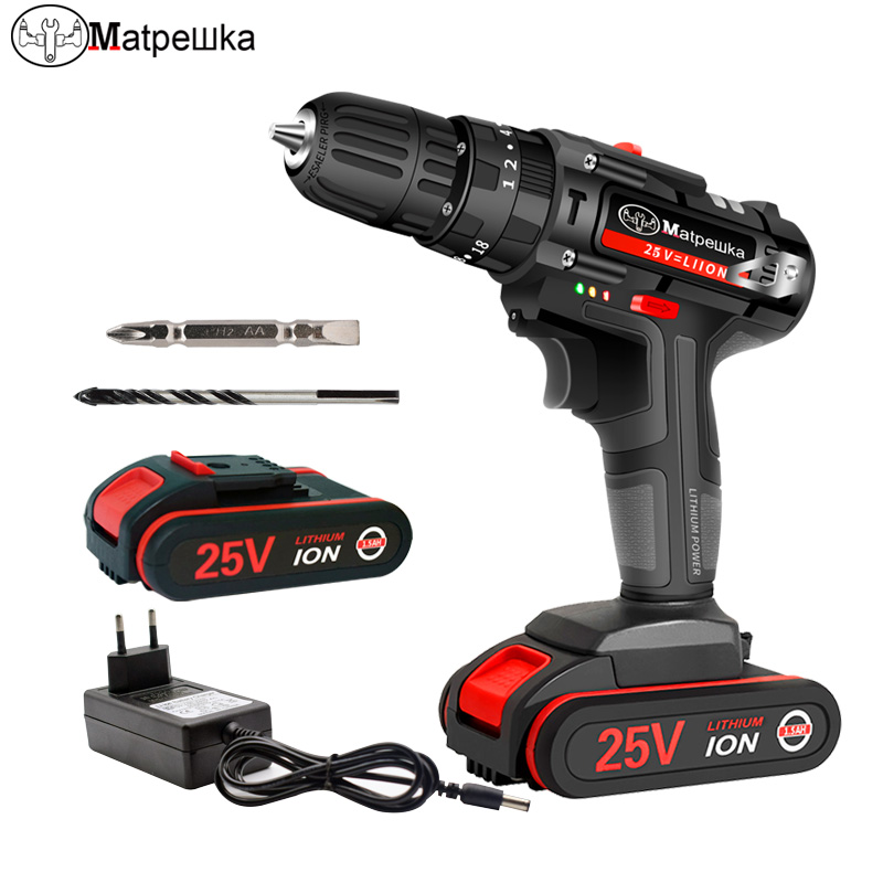 <font><b>25V</b></font> High Quality Electric Screwdriver Impact Drill Cordless Rechargeable Lithium-ion Battery Electric Drill Power Tools + Gifts image