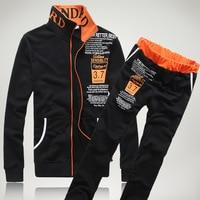 Autumn Men Set Casual Men's Sportswear Tracksuit Striped Zipper Jacket+Sweatpants Two Piece Sets Male Letter Print Sporting Suit