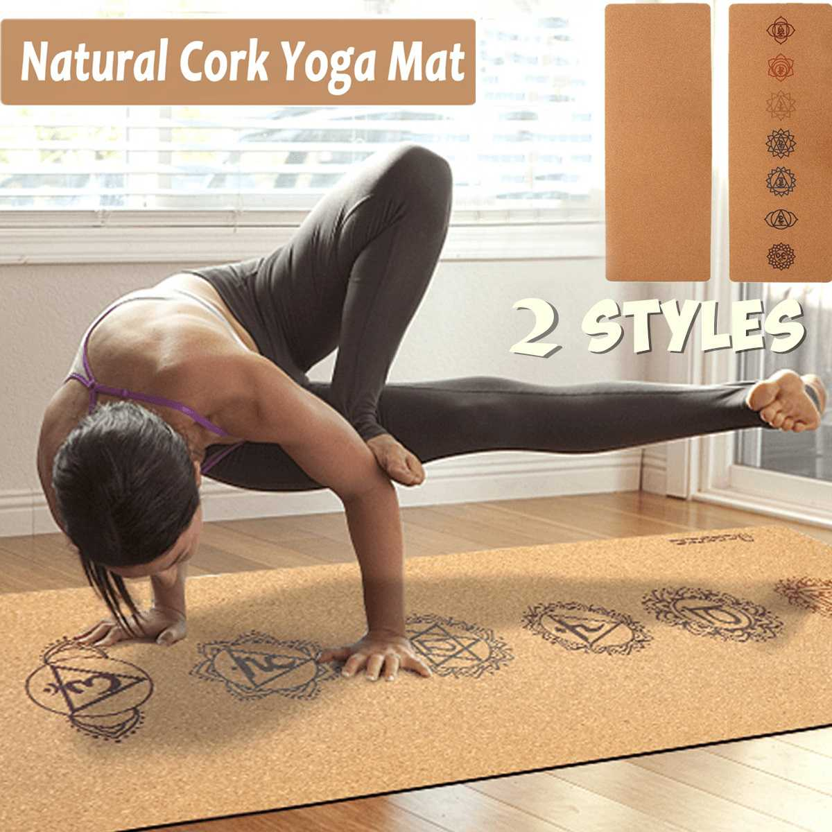 183X68cm Natural Cork TPE Yoga Mat 5MM Fitness Sports Gym Mat Non-slip Pilates Exercise Training Mats With Carry Bag
