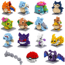 Blocs de construction pokémon, figurines de poche en granulés, Pikachu Poké, mini modèle diamant, jouet de collection pour enfants
