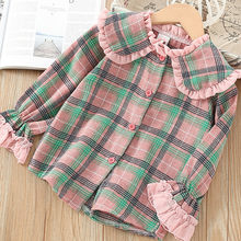 Korean-style KID'S Jacket Girls Lotus Leaf Lapel Shirt 2019 Autumn New Style Small CHILDREN'S Princess Plaid Long-sleeve Blouse(China)
