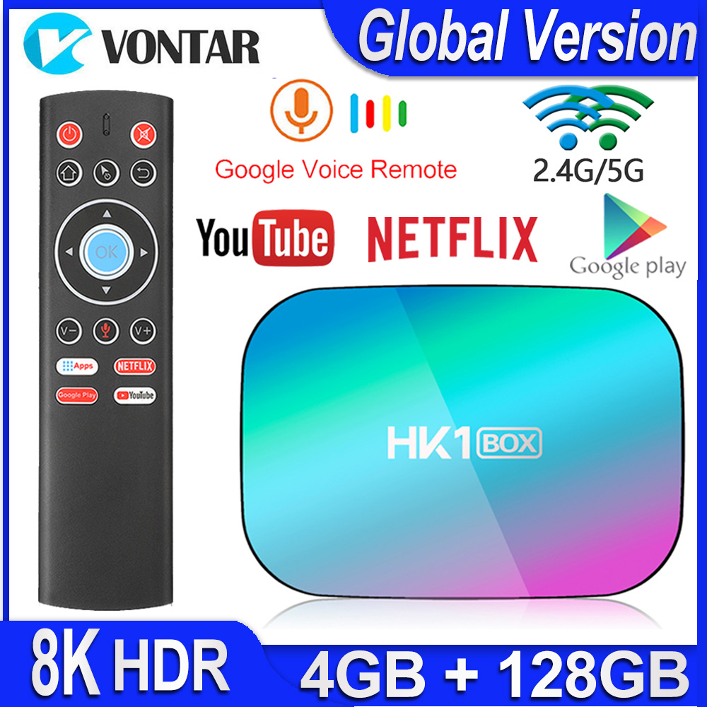 HK1 BOX 8K 4GB 128GB TV Box Amlogic S905X3 Android 9.0 Smart TV BOX 1000M Dual Wifi Google Player Netflix Youtube Media Player