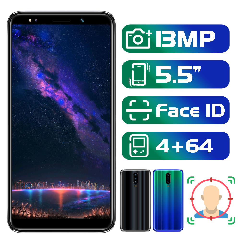 Note8 Pro 5.5 Inch 18:9 Screen Face ID Mobile Phone 4G RAM 64G ROM MTK Android Smartphones 13MP Camera Celulares Unlocked Phones
