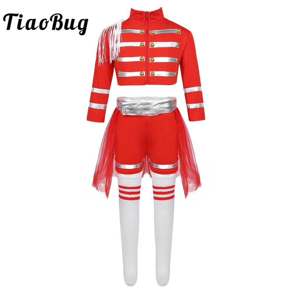 TiaoBug Kids Girls Cheerleading Uniform Performance Modern Jazz Dance Costume Crop Tops With Shorts Mesh Skirt Socks Set Outfit