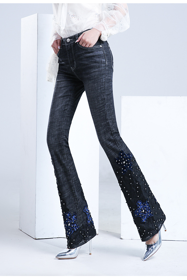 KSTUN FERZIGE Jeans Women Embroidered Hand Beads Black Blue High Waist Stretch Denim Pants  Bell Bottom Sexy Lady Jeans Boot Cut Mujer 17