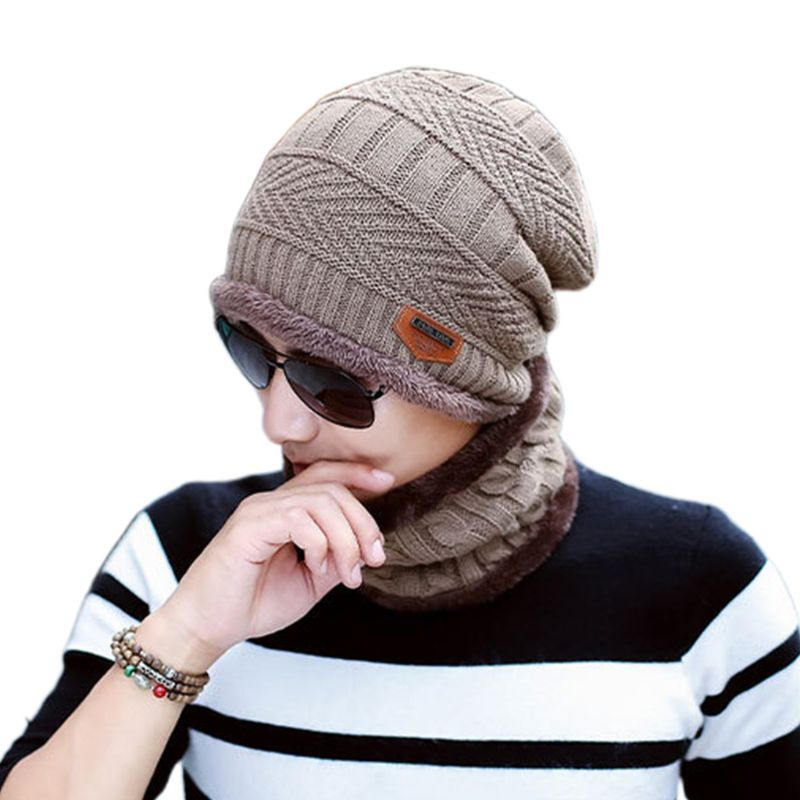 Adult Kids Winter Chunky Cable Knit Faux Fleece Lined Warm Beanie Hat Scarf Set LX9E