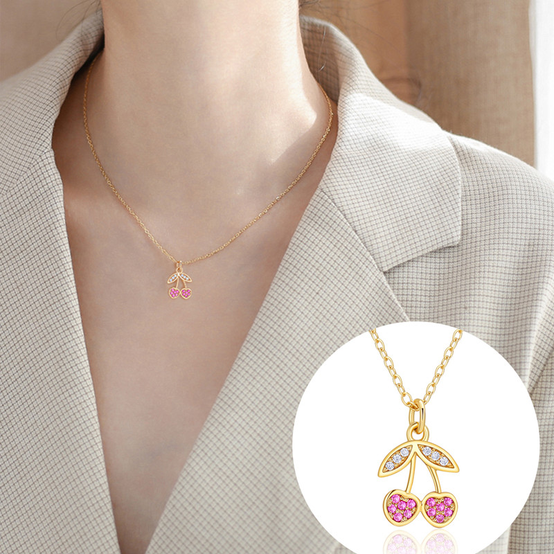 CHIMERA Cherry Necklace Real S925 Sterling Flower Crystal Pendant Chain for Women Luxury Fashion Jewelry Gold Choker