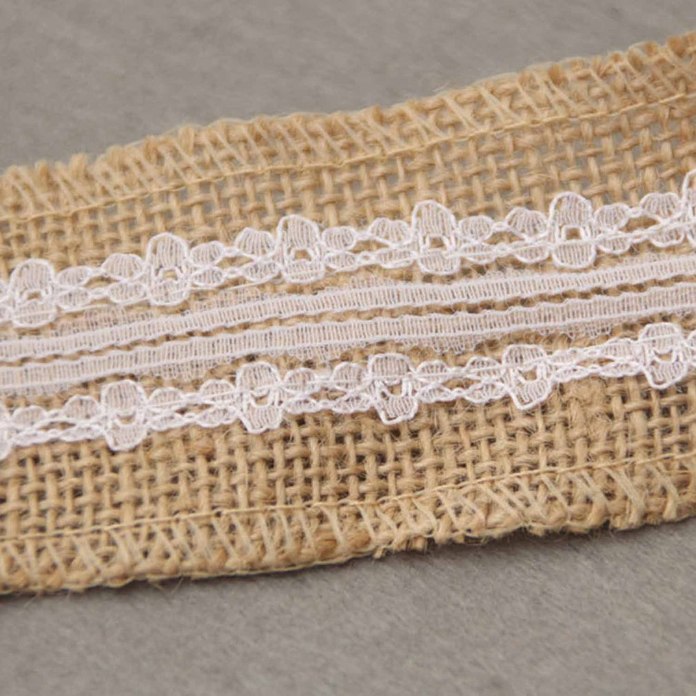 Hessian Ribbon With Lace  Jute//Burlap 50mm Ideal Wedding Craft Sold by the meter
