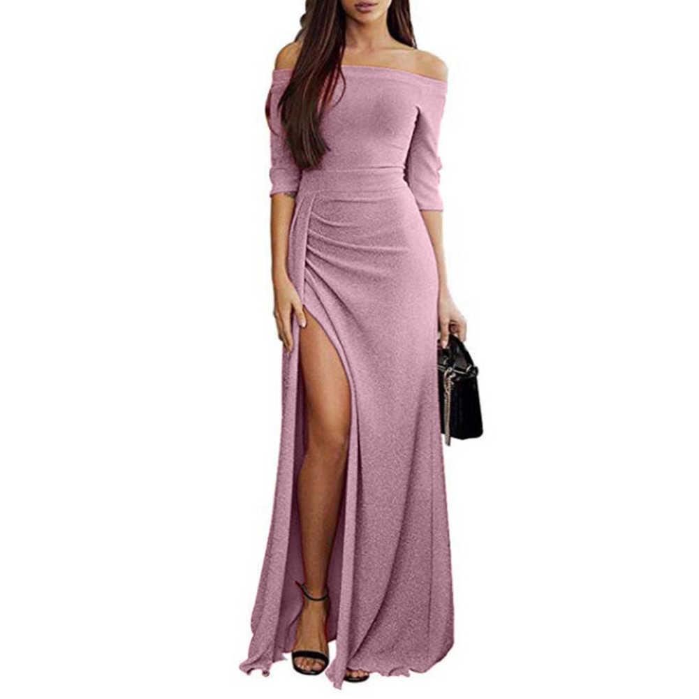 Soirée femmes filles Sexy hors épaule haute fente longue robe brillante robe moulante