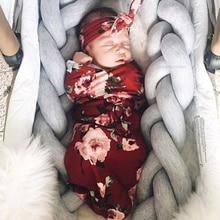 Cotton Swaddle Blanket Newborn Baby Infant Girl Boy Wrap Floral Sleeping Bag