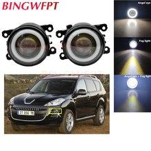 2x High power H11 LED Fog Lamps Angel Eye light with Glass len For Peugeot 4007 GP_ 2007 2008 2009 2010 2011 2012 2013
