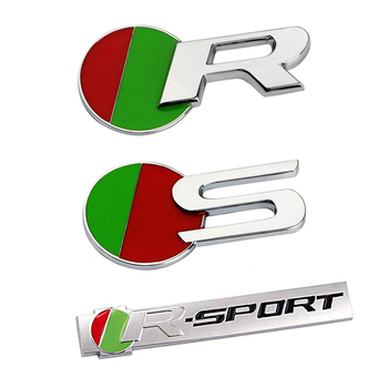 R-SPORT R S Logo Nameplate For Jaguar E-PACE I-PACE S-TYPE XF XE XJ XF F-PACE Car Fender Trunk 3D Badge Sticker Accessories 1pcs 3d metal car rear trunk fender badge emblem sticker for jaguar xf xfl xj xjl xk s type x type sport logo car accessories