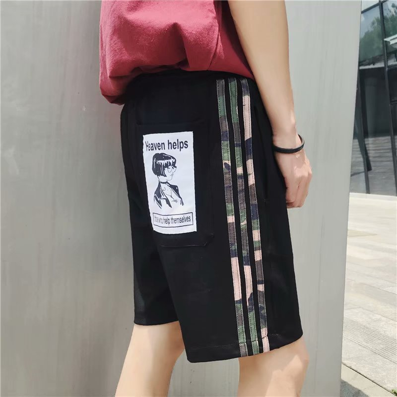 2019 Summer New Style MEN'S Casual Pants Loose-Fit Skinny Harem Pants Korean-style Youth Stripes Shorts