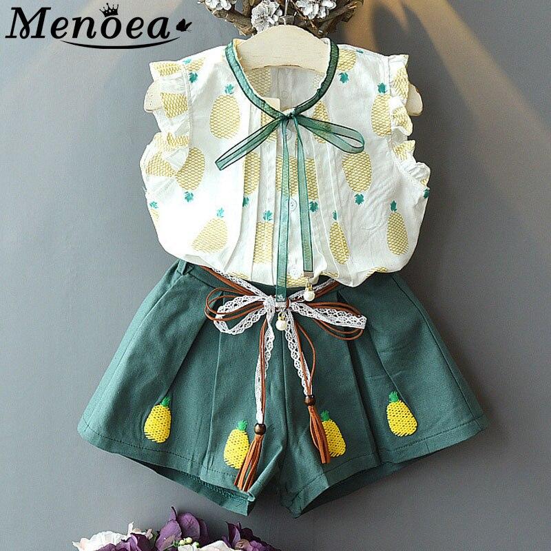 Menoea Children Clothes Suits 2020 Summer Girls Green Clothing Kids Pineapple Children Clothing Girl Clothes +Short Pant 2pcs Se