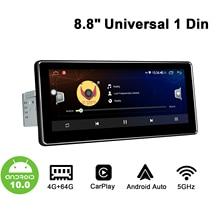 """אנדרואיד 10.0 רכב רדיו 1din 8.8 """"IPS אוקטה C ore1280 * 480 RDS FM תמיכה Carplay & אנדרואיד אוטומטי & 4G אוניברסלי מולטימדיה וידאו נגן"""