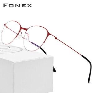Image 1 - Fonexチタン合金メガネ男子ラウンド処方眼鏡フレーム女性近視光学フレーム韓国ネジなし眼鏡 98612