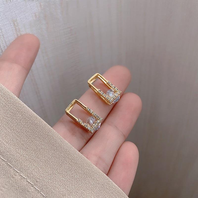 Korean New Geometric Rectangular Earrings Fashion Temperament Small Simple Earrings Elegant Women's Jewelry