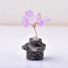 1 adet doğal ametist şanslı ağacı kristal taş Mineral süsler hayat ağacı el yapımı ev dekorasyon şifa çin tarzı