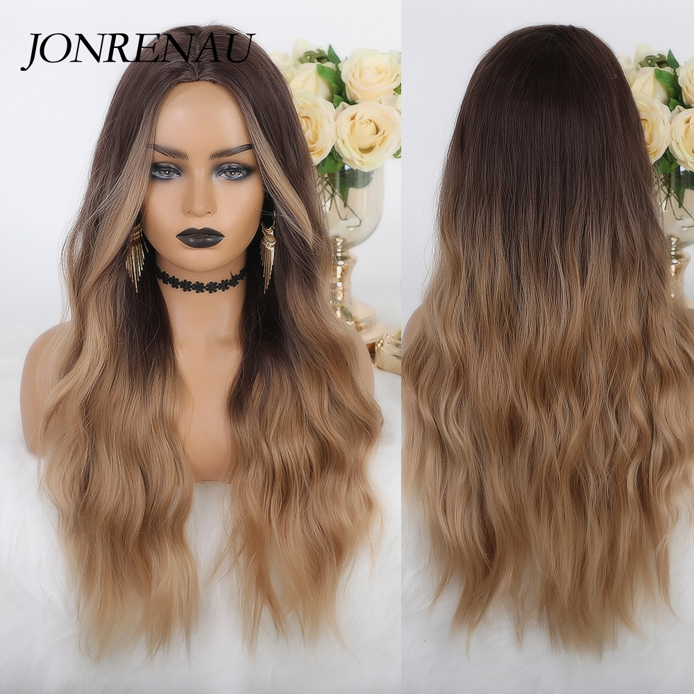 JONRENAU Long Natural Wave Synthetic Ombre Dark Brown to Ash Gray Wigs for White Black Women Party Costume Cosplay  Hair wig