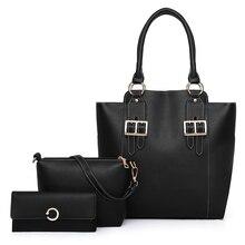HaoYun Fashion PU Leather Women Handbag+Shoulder Bag+Purse 3PCs/Set Solid Pattern Girls Trend Bags Set