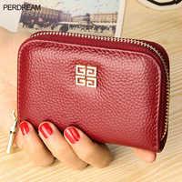 First-tier cowhide accordion purse lady leather purse change purse man multi-card card purse zipper Purse