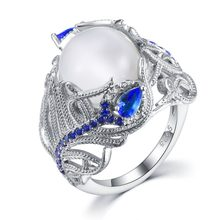 Vintage Fine Jewelry Natural Moonstone Opal Rings For Women Flower 925 Sterling Silver Blue Sapphire Gemstone Ring Fine Jewelry(China)