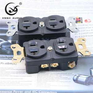 "Image 1 - 1pcs 2pcs XSSH אודיו טהור נחושת מצופה זהב רודיום 20amp 20A 125V אמריקה סטנדרטי בארה""ב כוח שקע חשמלי לשקע"