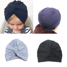 Cute 12 Colors Soft Cotton Baby Toddler Kids Turban Hat Beanie Caps Headwear Infant Birthday Photo Props  Headband Gifts