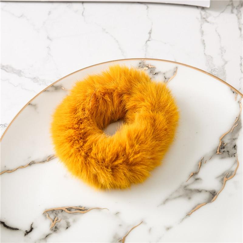 Мягкая Плюшевая повязка для волос резинки для волос натуральный мех кроличья шерсть мягкие эластичные резинки для волос для девочек однотонный цветной хвост резинки для волос для женщин - Цвет: Оранжевый