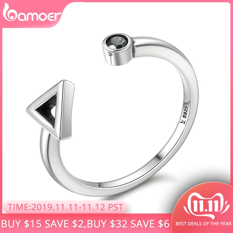 BAMOER Hot Sale 925 Sterling Silver Geometric Round & Triangle Open Finger Rings For Women Sterling Silver Jewelry Gift SCR144