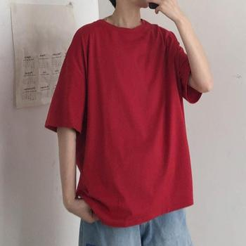 Hip Hop T-Shirts Solid Color Men Short Sleeve Round Neck Loose Patchwork Oversize Korean Harajuku Tee Top image
