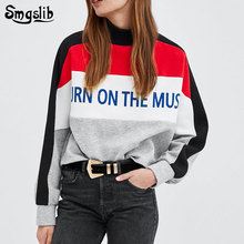 2019 new fashion o-neck long sleeve pullover knitted oversized hoodie casual sweatshirts  streetwear letter patchwork long sleeve patchwork pullover hoodie