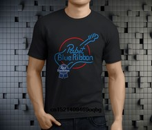 Custom Shirt Design Pabst Blue Ribbon Guitar Neon Design Short Cotton Crew Neck Shirts For Men(China)
