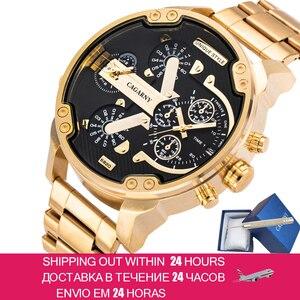 Image 1 - Cagarnyデュアルディスプレイ高級腕時計メンズスポーツクォーツ時計メンズゴールド鋼腕時計レロジオmasculinoドロップシッピング新2020