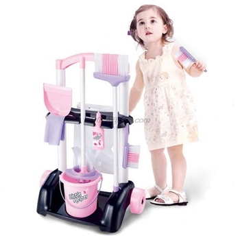 House Cleaning Trolley Set Kids Pretend Play Toy Little Helper Household Cart Child Supplies - discount item  33% OFF Pretend Play