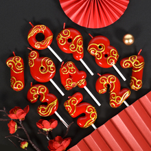 Red Festive 0-9 Upscale birthday number candle cake decoration accessories cupcake toppers baby shower party supplies
