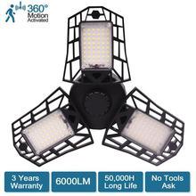 Потолочный светильник с активированным движением, 60 Вт, 6000лм, светодиодный деформируемый светильник для гаража, высокоинтенсивная горная лампа для гаража, для складов, мастерской