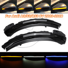 2pcs LED Dynamic Turn Signal Light Sequential Side Mirror Indicator Blinker for Audi A3 8V S3 RS3 2013 2014 2015 2016 2017 2018