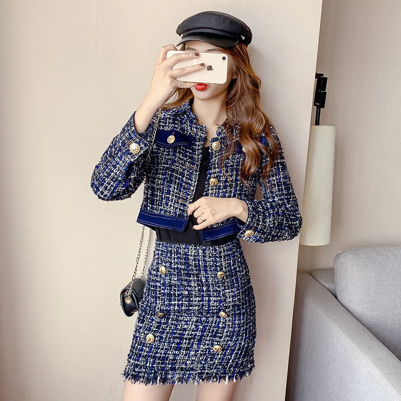 CBAFU Wool Tweed Skirt Suit Autumn Double Breasted Long Sleeve Short Jacket Tweed Coat High Waist Skirt Set Plaid High P496