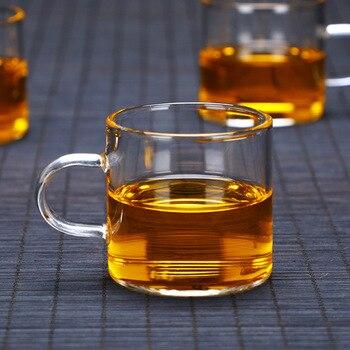 제조 업체 두꺼운 붕 규산염 더블 레이어 컵 수제 핸들 컵 세트 내열 유리 주전자 차 세트 사용자 정의