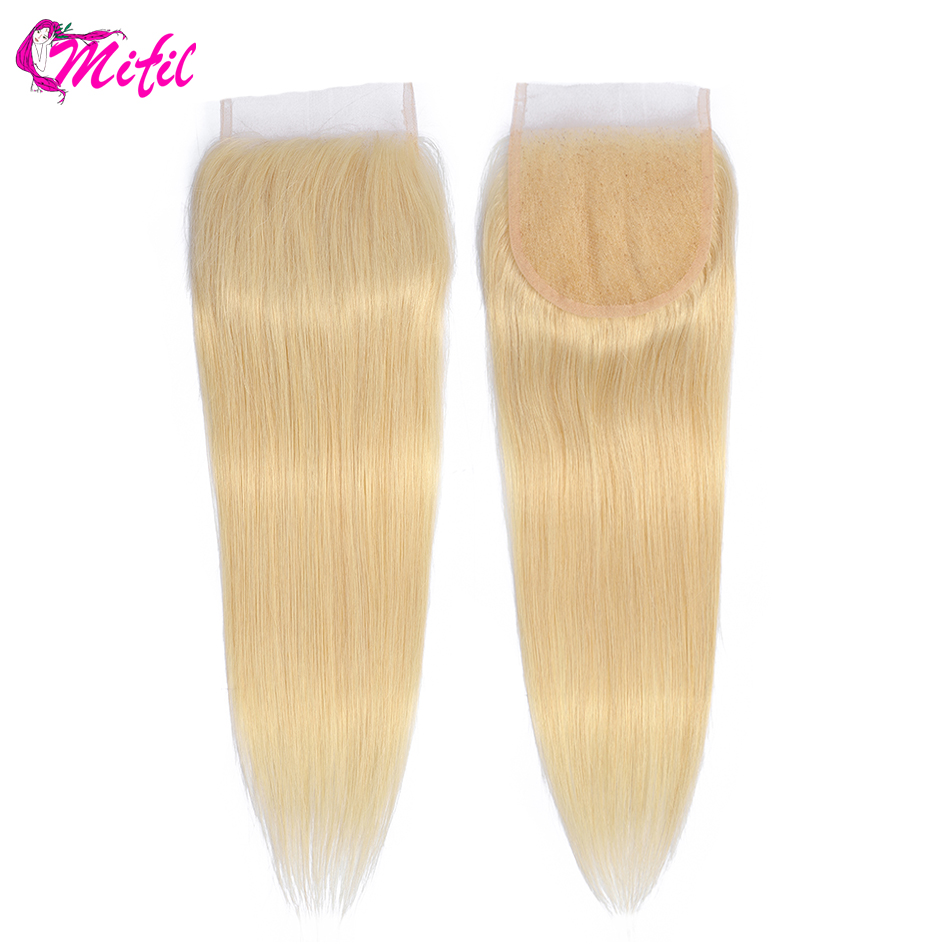 Mifil 613 Closure Straight Frontal Closure Remy Brazilian Closure Swiss Lace Human Hair Hand Tied Transparent Middle Part image